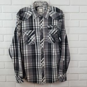 BKE Athletic Fit Pearl Snap Button Down Shirt